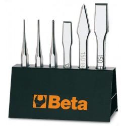 Huggmejselsats med metallställ, 6st, 2-4mm, 125-150mm, Beta 38_serie