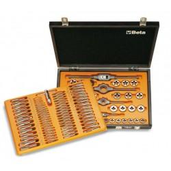 Gängssats 110 delar, M2x0.4 - M18x1.5, kromad stål, gängtappar, gängsnitt och tillbehör, träask, Beta Tools