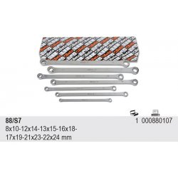 Ringnyckelsats, platt, lång, 8x10mm-22x24mm, Beta 88/S7