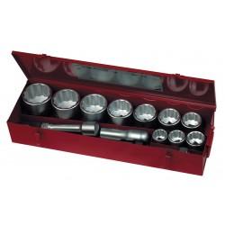 """Hylssats 1"""" tolvkantshylsor 36-80mm, handtag, förlägare m.m. Teng Tools"""