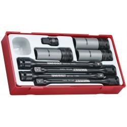 "Momenthylssats 3/8"", 1/2"" 17-19-21 mm, 8 delar (slaghylsor) med torsionsstavar 90-140Nm, hjulmutterhylsor m.m. Teng Tools"