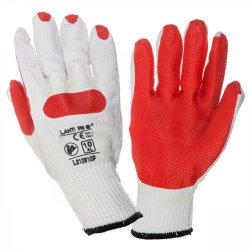 """GLOVES LATEX RED-WHITE L210910P, 12   PAIRS, """" 10"""" , CE, LAHTI"""