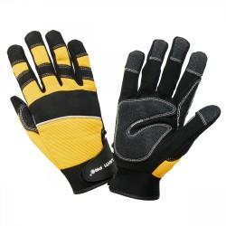 Handskar för mekaniker, st.  9, svart-gula, spandex, PVC, CE, EN 420, Lahti Pro L2808