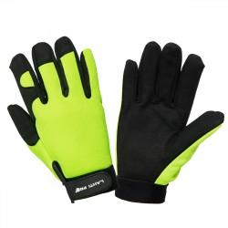 Handskar för mekaniker, svart-gula, mikrofiber, spandex, polyester, CE, EN 420, Lahti Pro L2803