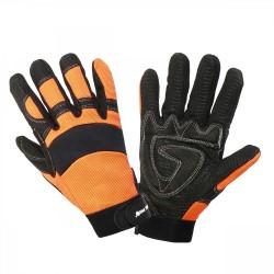 Handskar för mekaniker, svart-orange, spandex, silikonnät, SBR gummi, CE, EN 420, Lahti Pro L2801