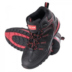 "ANKLE SHOES, LEATH.OXförD, BLACK-RED, SB SRA,"" 39"" ,CE, LAHTI"