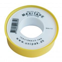 Teflontape, tätning av gasledningar, 12x0,1mm längd 13.2meter, Maxitape