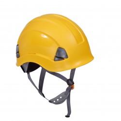 Arbetshjälm, skyddshjälm för höjdarbeten ventilerad gul, CAT. III, CE, LAHTI