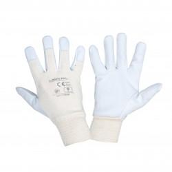 Arbetshandskar 12 par, läderhandskar av getskinn vit-beige, CE, LAHTI