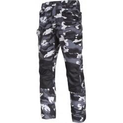 Arbetsbyxor, svart/vit kamouflagemönster, slitstarka militärbyxor, LAHTI