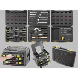 Förvaringssystem inkl. verktyg, organiser verktygslådor sats med 70 universalverktyg, Stanley