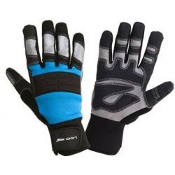 Handskar för mekaniker, st.  10, svart-blå, med reflex, spandex, PVC, CE, EN 420, Lahti Pro L2807