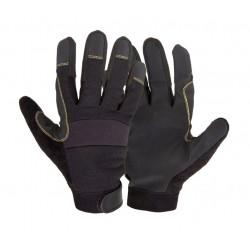 Handskar för mekaniker, st.  9, svart syntetskinn, PVC, ventilerade, CE, EN 420, Lahti Pro L2810