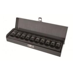 "Krafthylssats 10st. Cr-Mo 1/2"", 10-22mm krafhylsor, metallåda, PROLINE"