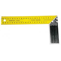 Vinkelhake med linjal på båda sidor, stål, gul-svart, 300mm