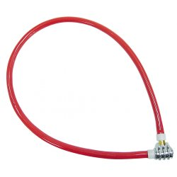 Lås stålkabel, 550MM lång, blå eller röd, med 3-siffrigt kombinationslås