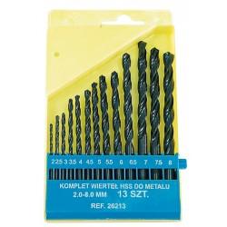 Metallborr HSS (spiralborr) sats 13st, för metall, DIN 338, st. ar 2.0~8.0mm, 0.5mm mellan varje st. . Svarta, platt plastbox, inplastad.