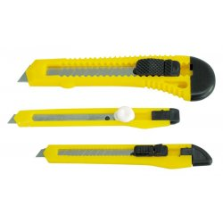 RETRACTABLE KNIFE sats. CONTENTS: 150MM BIG - 18  MM BLADE, 130MM - WIDE 9MM BLADE, 130MM NARROW - 9MM WIDE.