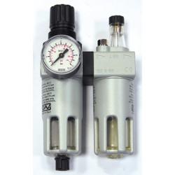 """Begränsare för tryckluft med filter och oljefuktare FRL-180 1/4"""" 0-10 bar, 14 bar innuti"""