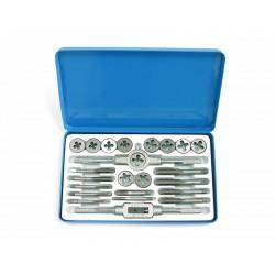 """Gägverktyg, sats med 24st, metriskt, Gängtapp 5,6,8  ,10,12  X3 och gängsnitt 5,6,8  ,10,12  X1"""", metallbox"""