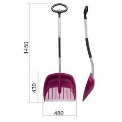 Skyffel för säd etc 480x430mm 145cm lång, plast aluminiumhandtag, ergonomiskt