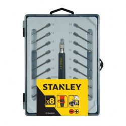 Skruvmejsel, sats 16st, för precisionsarbeten, med utbytbara spetsar, Stanley