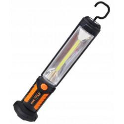 Starkt arbetslampa COB LED 450LM + 25LM varningsblink, laddbar, magnet och krok, USB