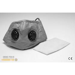 Andningsskydd med två ventiler + 1st utbytbar filter, tvättbar andningsmask, 100% bomull, skyddar mot virus bakterier, m.m. CE, N95 - N99, FFP2 - FFP3, PM2.5, grå