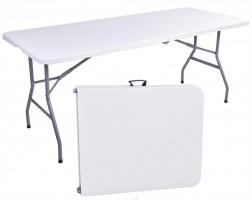 Campingbord 180cm vit, hopfällbart bord, utställningsbord, trädgårdbord