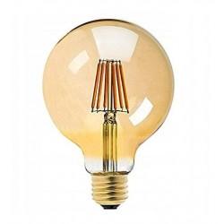 Vintage glödlampor LED E27 G95 kula 6W 560lm, 2500K varmt gulaktigt ljus, 4st