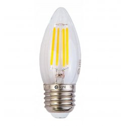 Vintage glödlampor LED E27 C37 4W 400lm, 2700K varmt gulaktigt ljus, 4st