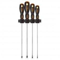 Skruvmejslar långa, sats 4st, magnetiska spetsar, ergonomiskt grepp, Neo Tools