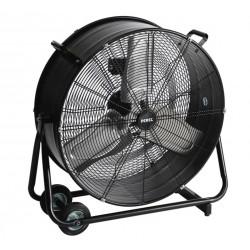 """Kraftfull industrifläkt, trumfläkt golvmodell med hjul, svart pulverlackad, 60 cm (24"""") 330W, 7128 m³/h, Perel"""