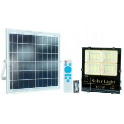 Strålkastare 252 LED 100W 6000 LM med solpanel och fjärrkontroll, IP65, slim