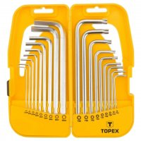 Insexnycklar långa torx och sexkant, sats 18st, T10-T50, 1-10mm, CrV, Topex