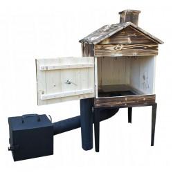 Mobilt rökskåp av trä och metall för hemmabruk, vedeldat, komplett rökeri kit, handgjort
