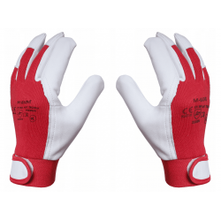 Arbetshandskar 12 par, montagehandskar, skinn, röd-vita CE,  M-Glove
