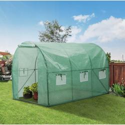 Odlingstält, växthustält höjd 2m, olika storlekar 6kvm-18kvm, med fönster, grön, Eco Garden