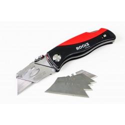 Fickkniv med utbytbara kniblad, hopfällbar, rosfritt, inkl. 5 knivblad, ROOKS